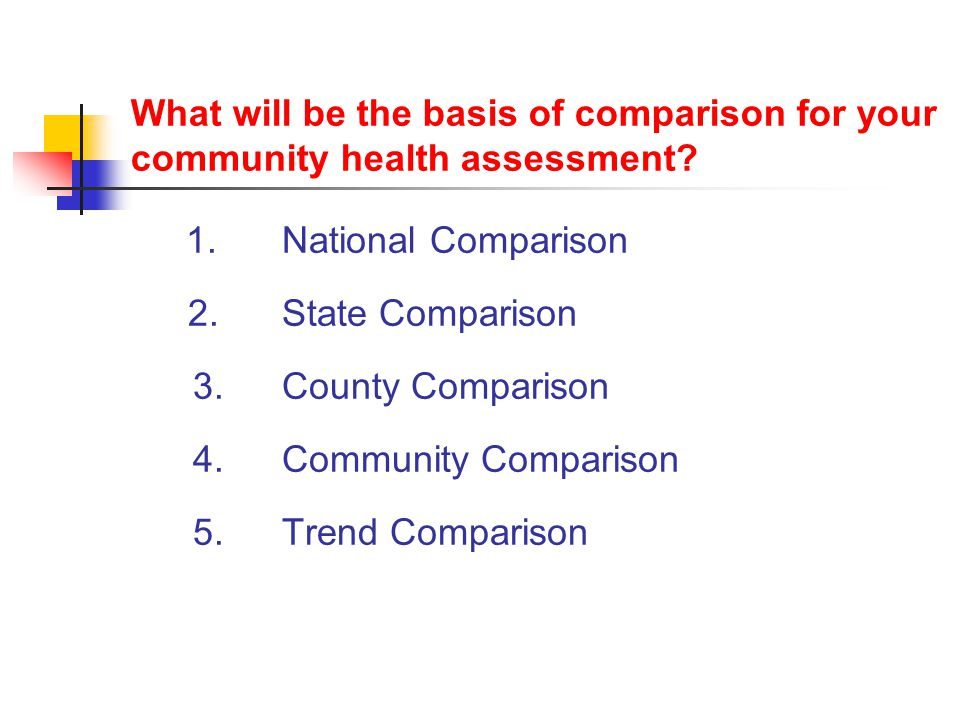What will be the basis of comparison for your community health assessment.