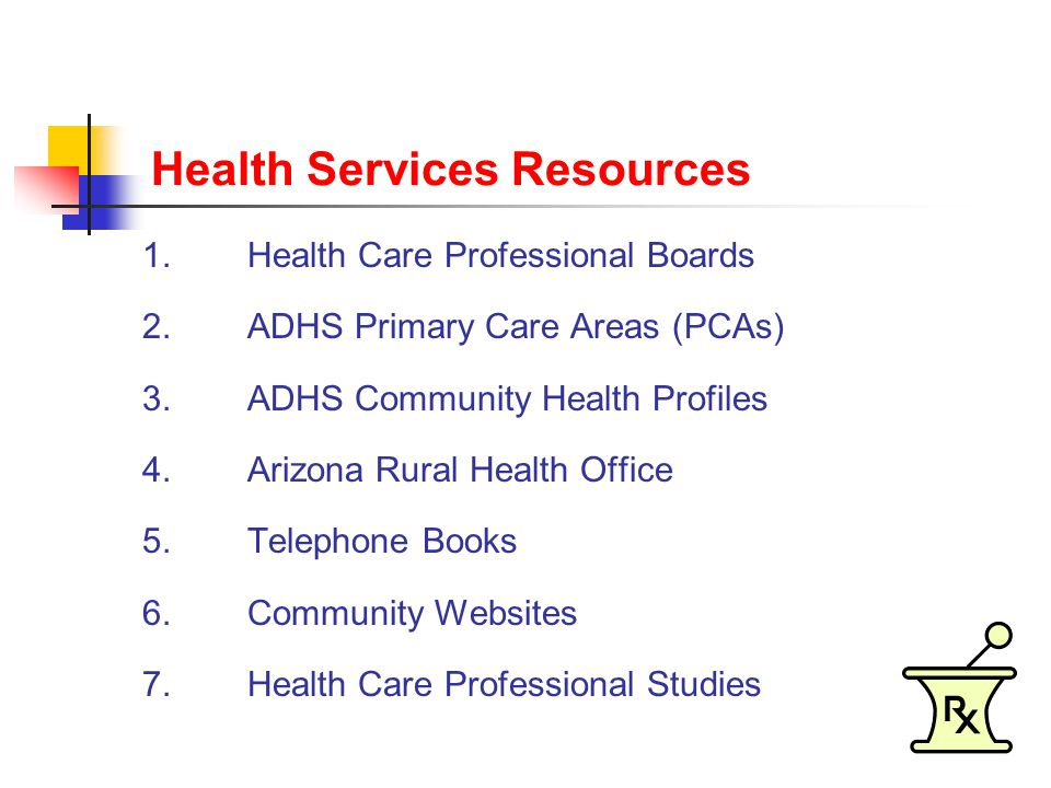 Health Services Resources 1.Health Care Professional Boards 2.ADHS Primary Care Areas (PCAs) 3.ADHS Community Health Profiles 4.Arizona Rural Health Office 5.Telephone Books 6.Community Websites 7.Health Care Professional Studies
