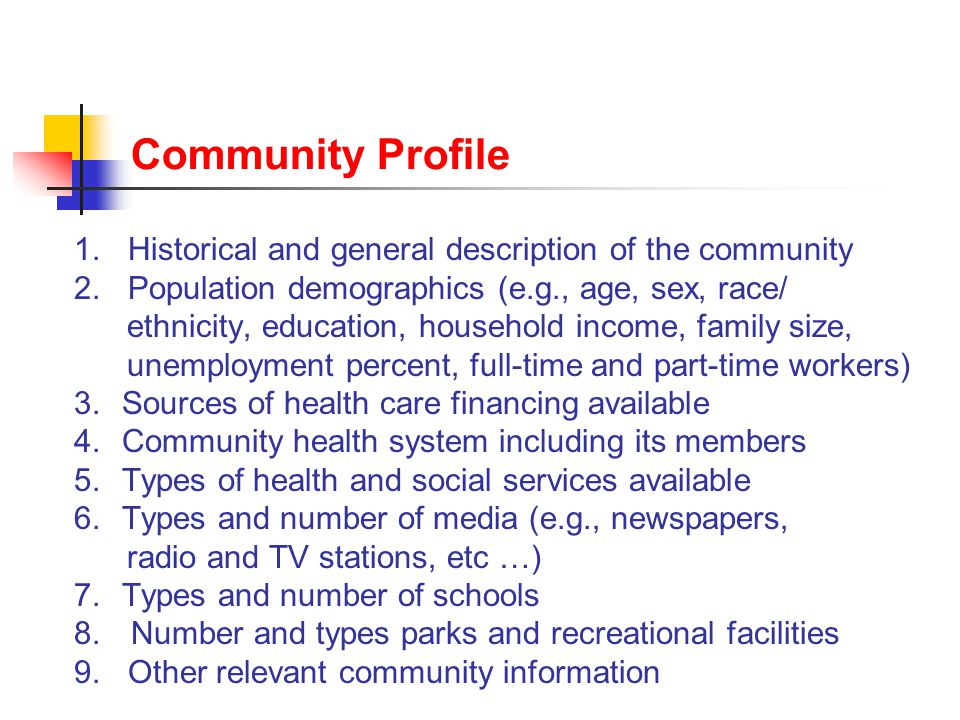 Community Profile 1. Historical and general description of the community 2.