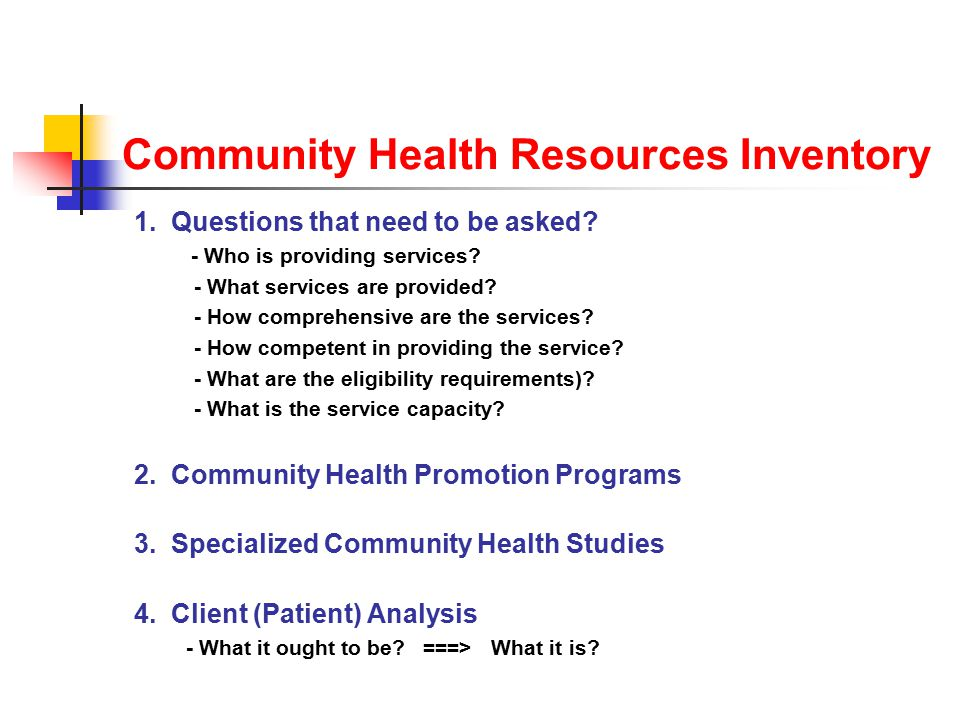 Community Health Resources Inventory 1. Questions that need to be asked.