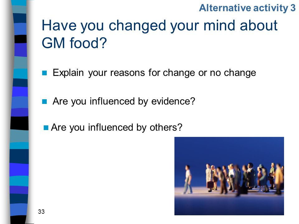 33 Have you changed your mind about GM food.
