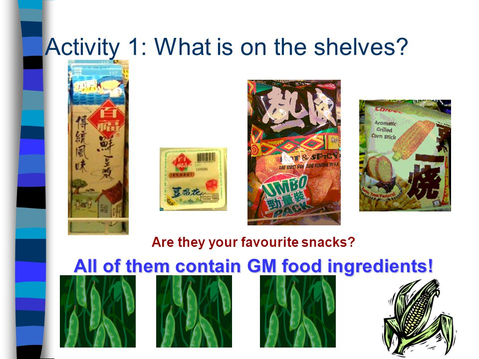 4 Activity 1: What is on the shelves. Are they your favourite snacks.
