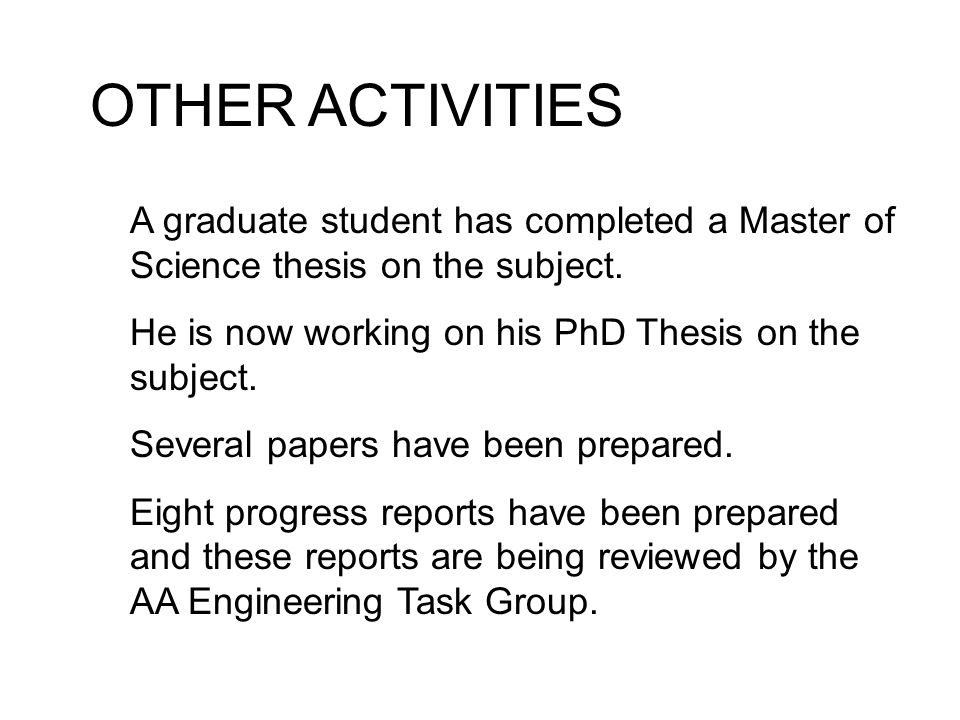 thesis progress report ppt Thesis committee meetings are required annually per be policy mm/yyyy date entered program: e-mail e-mail mm/dd/yyyy student research update -- in this meeting, i seek feedback on the following aspects of my project(s).