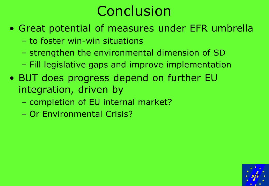 Conclusion Great potential of measures under EFR umbrella –to foster win-win situations –strengthen the environmental dimension of SD –Fill legislative gaps and improve implementation BUT does progress depend on further EU integration, driven by –completion of EU internal market.