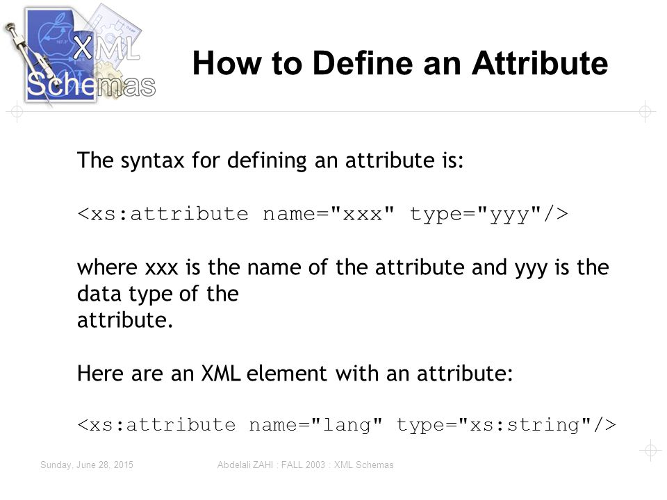Sunday, June 28, 2015 Abdelali ZAHI : FALL 2003 : XML Schemas How to Define an Attribute The syntax for defining an attribute is: where xxx is the name of the attribute and yyy is the data type of the attribute.