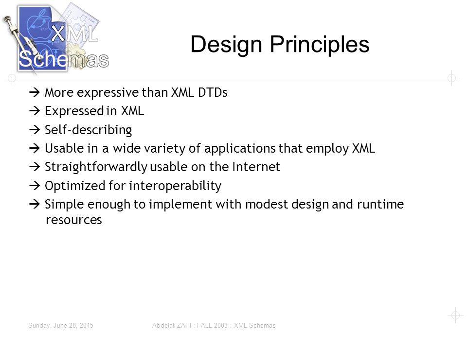 Sunday, June 28, 2015 Abdelali ZAHI : FALL 2003 : XML Schemas Design Principles  More expressive than XML DTDs  Expressed in XML  Self-describing  Usable in a wide variety of applications that employ XML  Straightforwardly usable on the Internet  Optimized for interoperability  Simple enough to implement with modest design and runtime resources