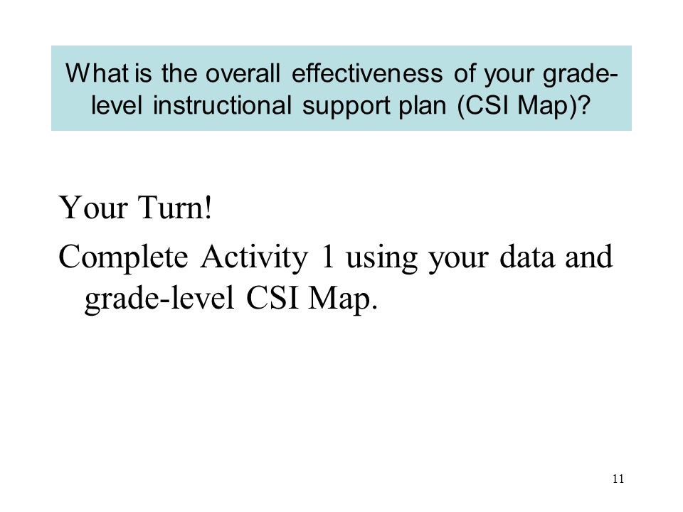 10 What is the overall effectiveness of your grade- level instructional support plan (CSI Map).