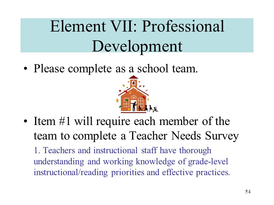 53 Element VI: Administration, Organization, Communication This section will primarily be completed by the principal and district team representative.