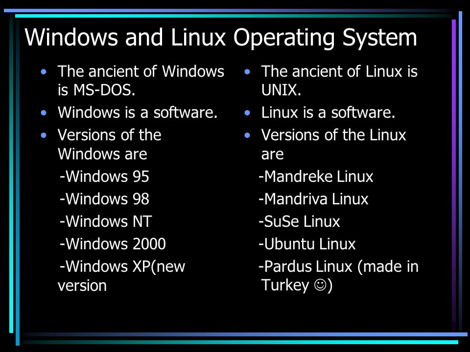 difference between unix and linux and windows