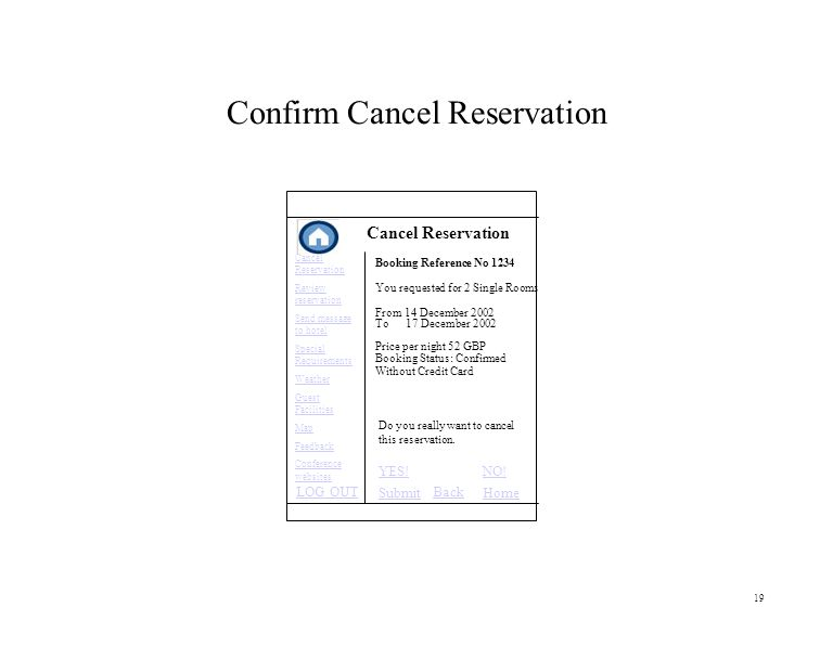 19 Confirm Cancel Reservation Cancel Reservation Do you really want to cancel this reservation.