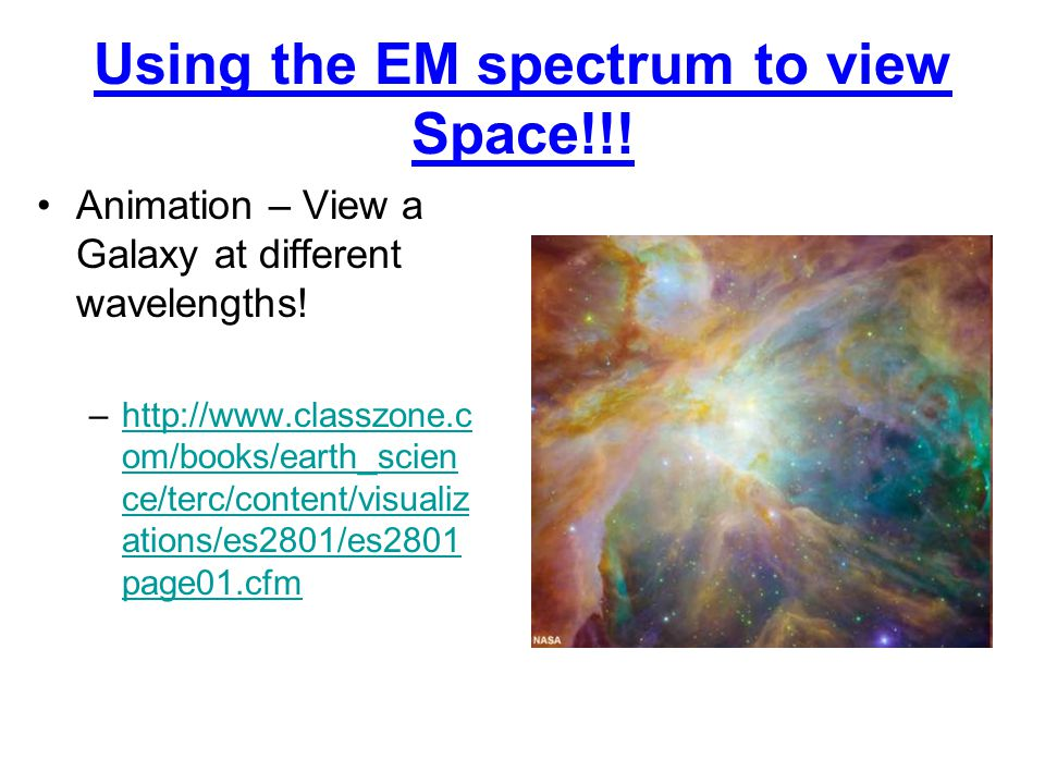 Using the EM spectrum to view Space!!. Animation – View a Galaxy at different wavelengths.