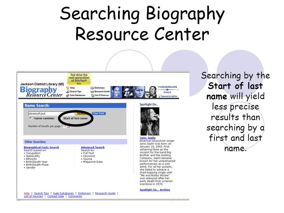 Using Biography Resource Center Biography Resource Center (BioRC) is