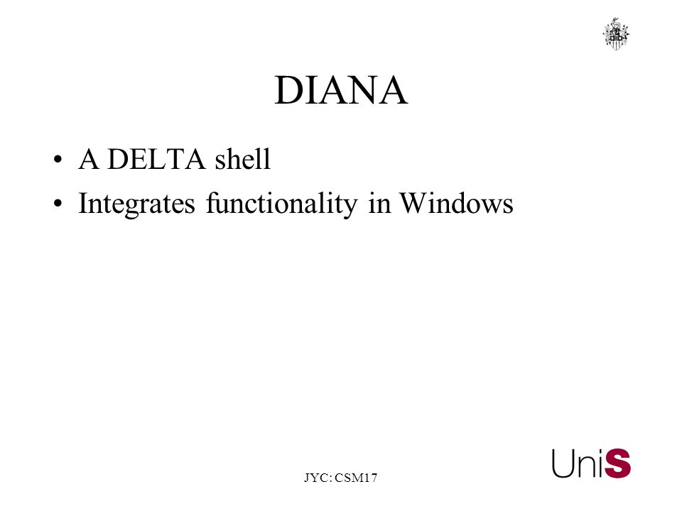 JYC: CSM17 DIANA A DELTA shell Integrates functionality in Windows