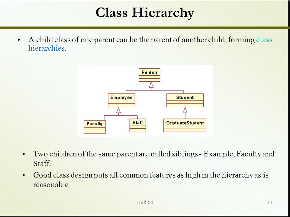 Unit 0111 Class Hierarchy A child class of one parent can be the parent of another child, forming class hierarchies.