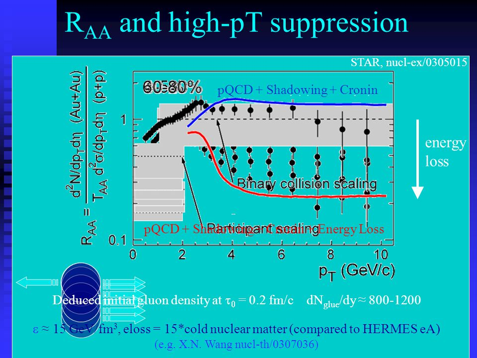 STAR, nucl-ex/ energy loss pQCD + Shadowing + Cronin pQCD + Shadowing + Cronin + Energy Loss R AA and high-pT suppression Deduced initial gluon density at   = 0.2 fm/c dN glue /dy ≈  ≈ 15 GeV/fm 3, eloss = 15*cold nuclear matter (compared to HERMES eA) (e.g.