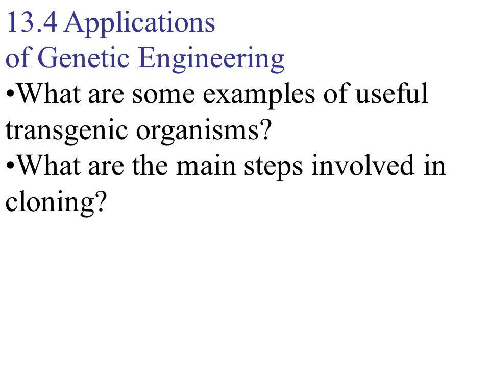 13.4 Applications of Genetic Engineering What are some examples of useful transgenic organisms.