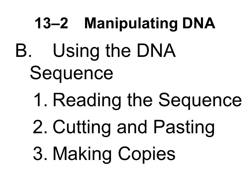 13–2Manipulating DNA B.Using the DNA Sequence 1.Reading the Sequence 2.Cutting and Pasting 3.Making Copies