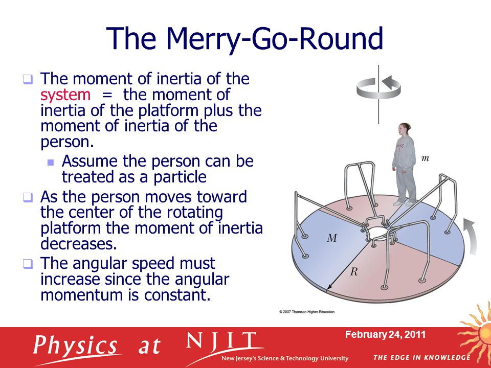 February 24, 2011  The moment of inertia of the system = the moment of inertia of the platform plus the moment of inertia of the person.