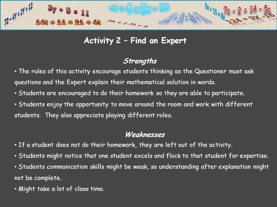 Strengths The rules of this activity encourage students thinking as the Questioner must ask questions and the Expert explain their mathematical solution in words.