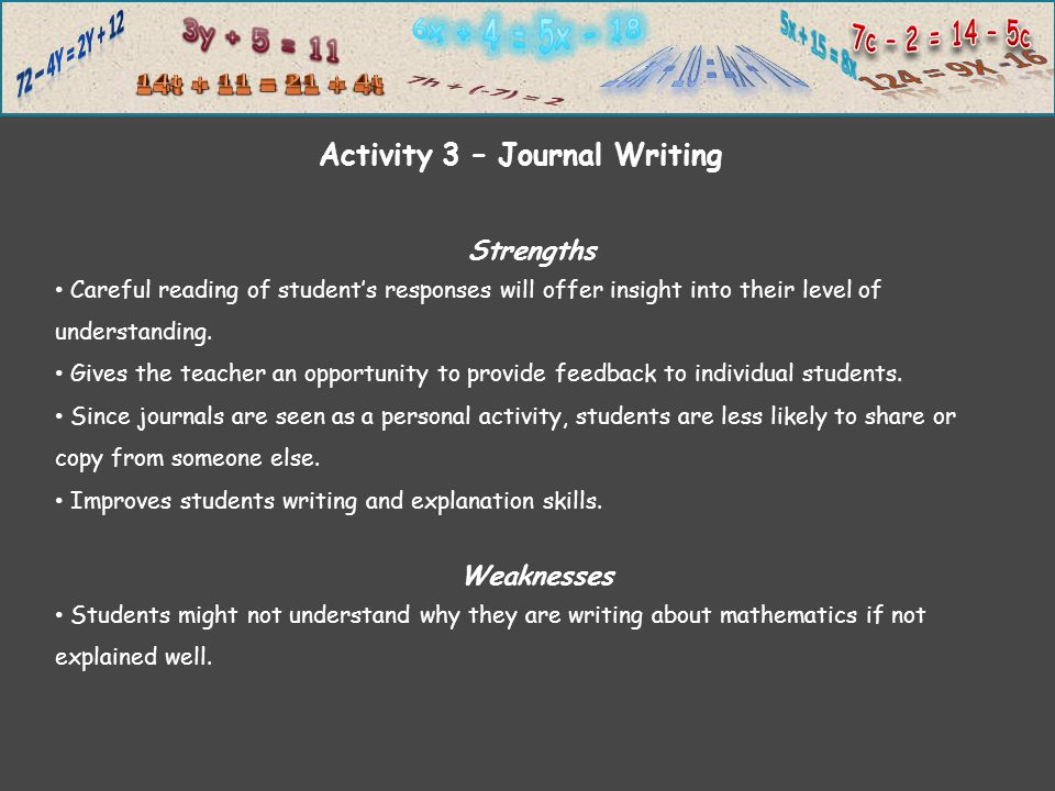 Strengths Careful reading of student's responses will offer insight into their level of understanding.