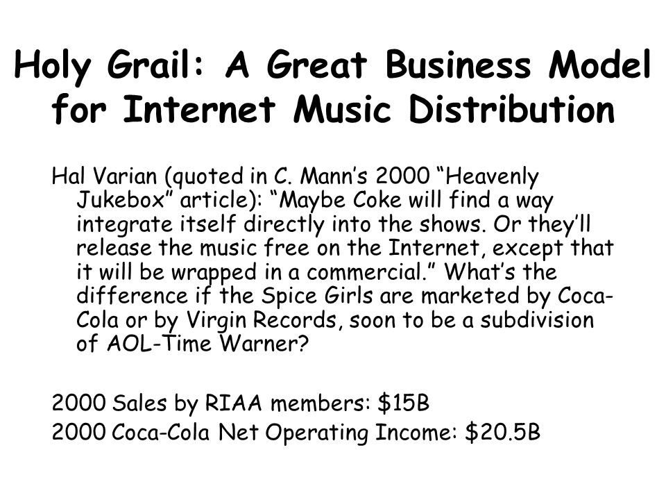 Holy Grail: A Great Business Model for Internet Music Distribution Hal Varian (quoted in C.