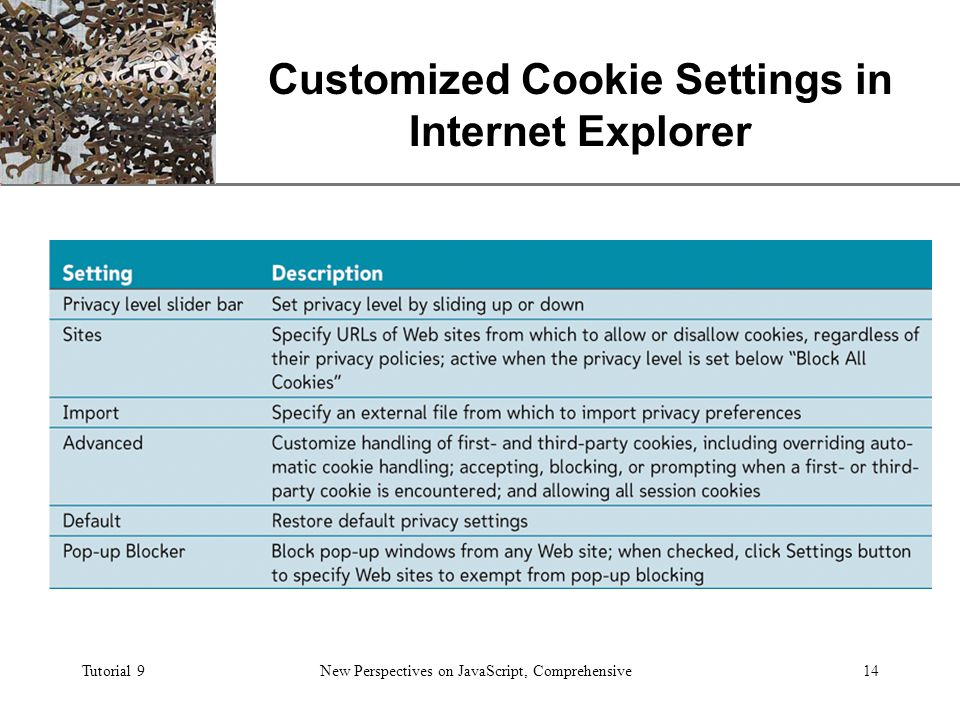 XP Tutorial 9New Perspectives on JavaScript, Comprehensive14 Customized Cookie Settings in Internet Explorer
