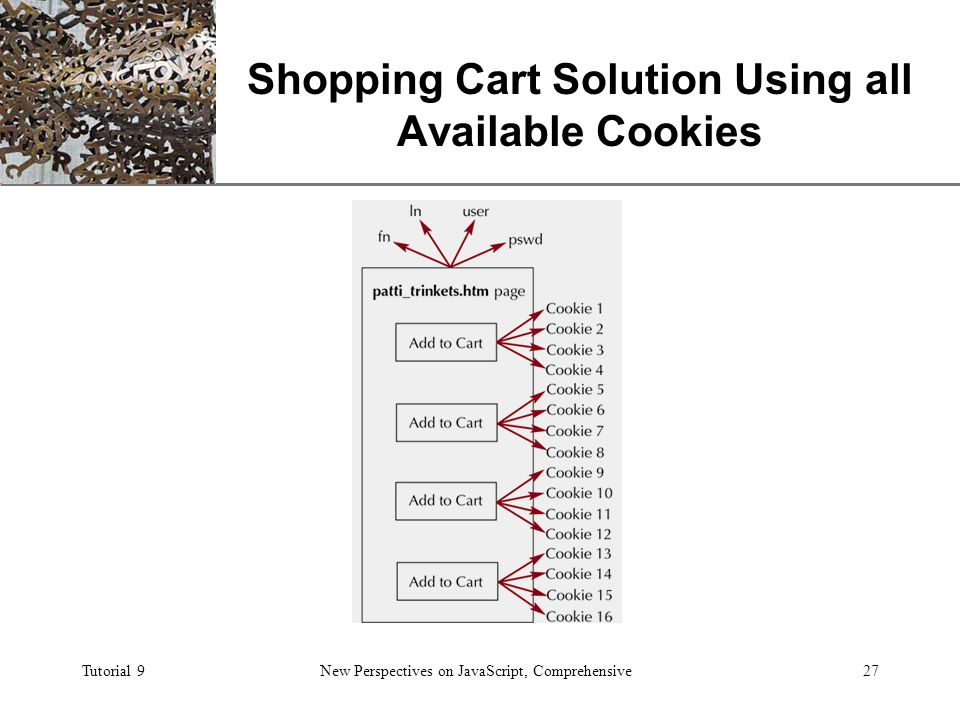 XP Tutorial 9New Perspectives on JavaScript, Comprehensive27 Shopping Cart Solution Using all Available Cookies