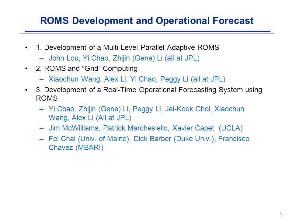1 ROMS Development and Operational Forecast 1  Development