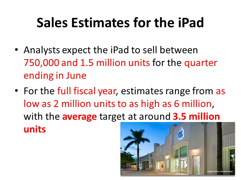 Sales Estimates for the iPad Analysts expect the iPad to sell between 750,000 and 1.5 million units for the quarter ending in June For the full fiscal year, estimates range from as low as 2 million units to as high as 6 million, with the average target at around 3.5 million units