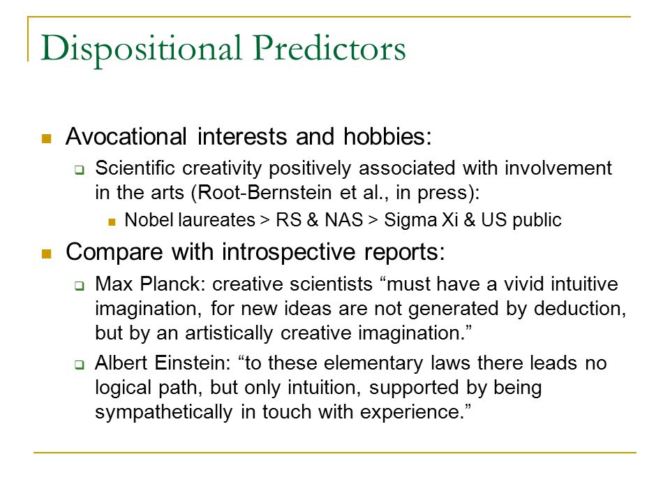 54 dispositional predictors avocational interests