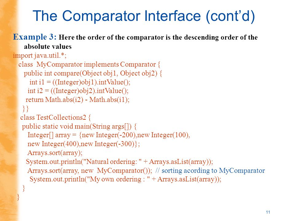1 Introduction to Searching and Sorting Comparable Interface -Reading p  Comparator Interface. - ppt download