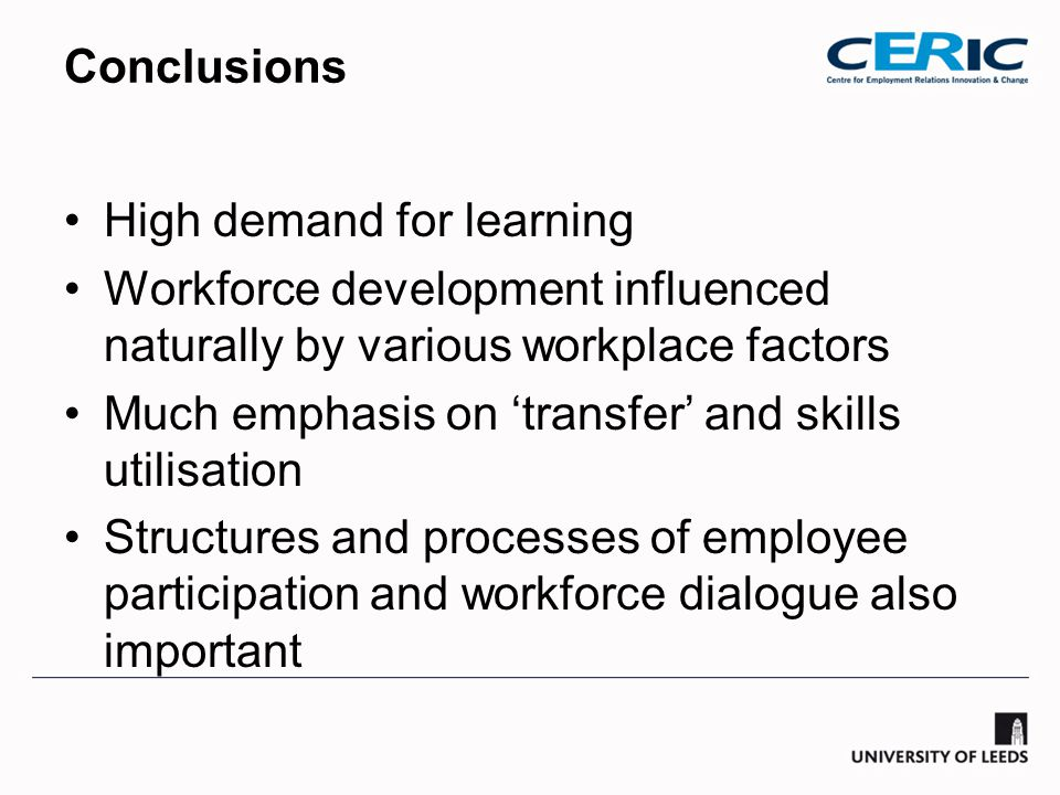 Conclusions High demand for learning Workforce development influenced naturally by various workplace factors Much emphasis on 'transfer' and skills utilisation Structures and processes of employee participation and workforce dialogue also important