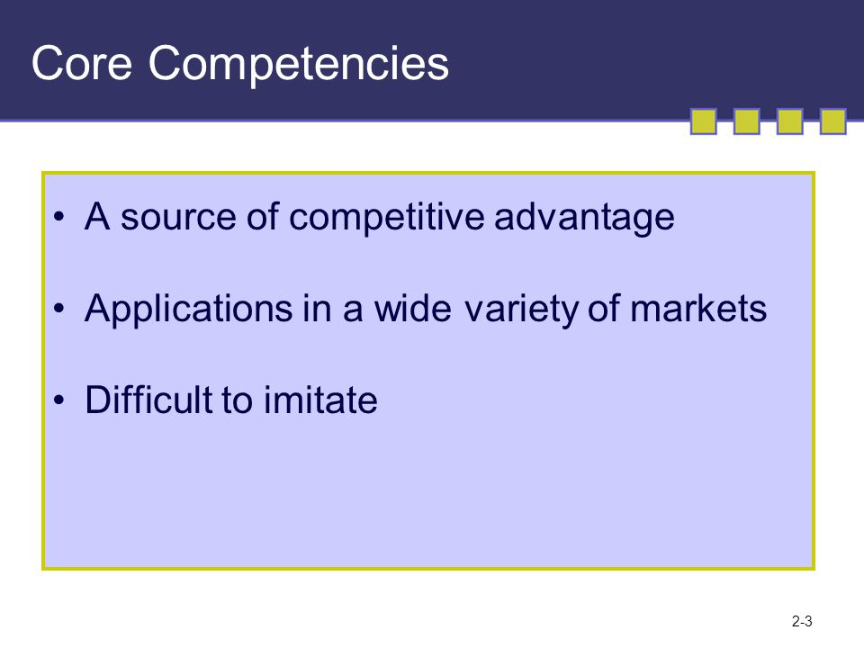 2-3 Core Competencies A source of competitive advantage Applications in a wide variety of markets Difficult to imitate