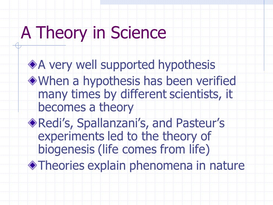 A Theory in Science A very well supported hypothesis When a hypothesis has been verified many times by different scientists, it becomes a theory Redi's, Spallanzani's, and Pasteur's experiments led to the theory of biogenesis (life comes from life) Theories explain phenomena in nature