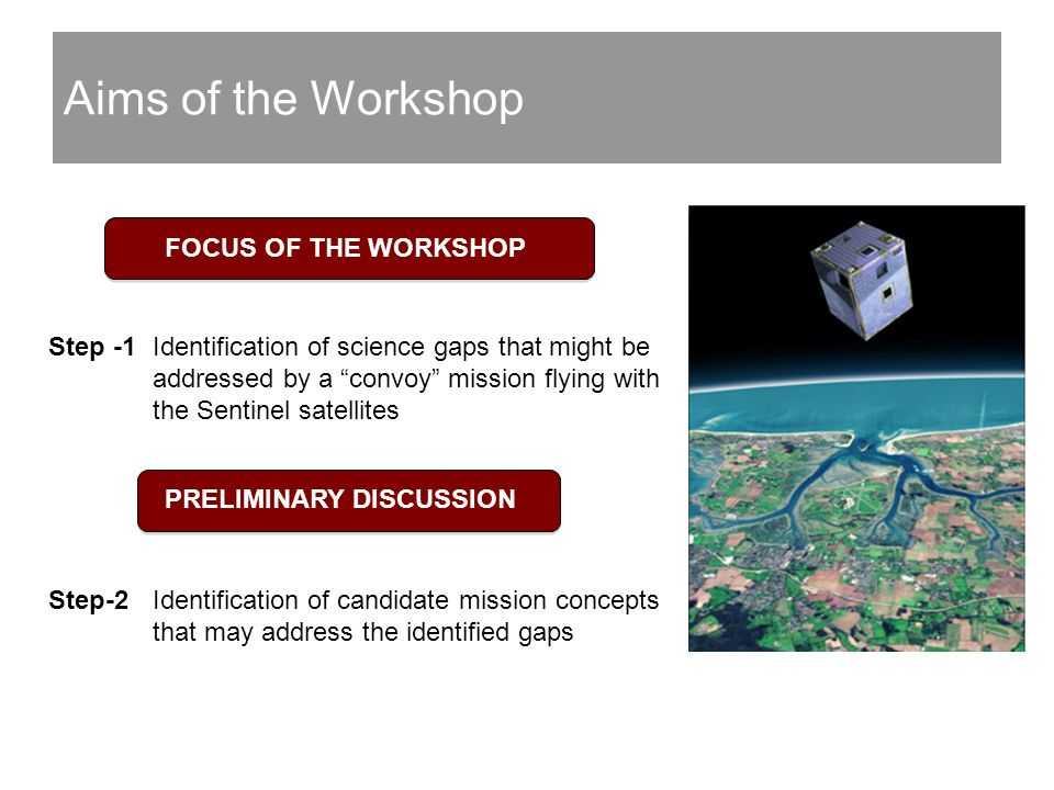 Aims of the Workshop Step -1 Identification of science gaps that might be addressed by a convoy mission flying with the Sentinel satellites Step-2 Identification of candidate mission concepts that may address the identified gaps FOCUS OF THE WORKSHOP PRELIMINARY DISCUSSION