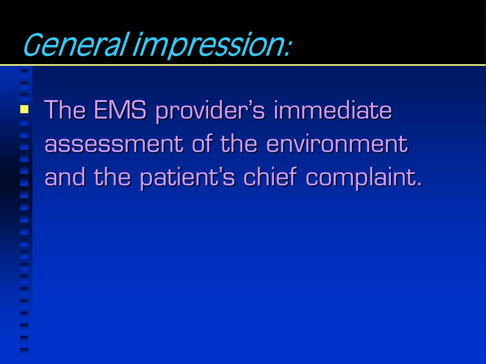 General impression: The EMS provider's immediate assessment of the environment and the patient's chief complaint.