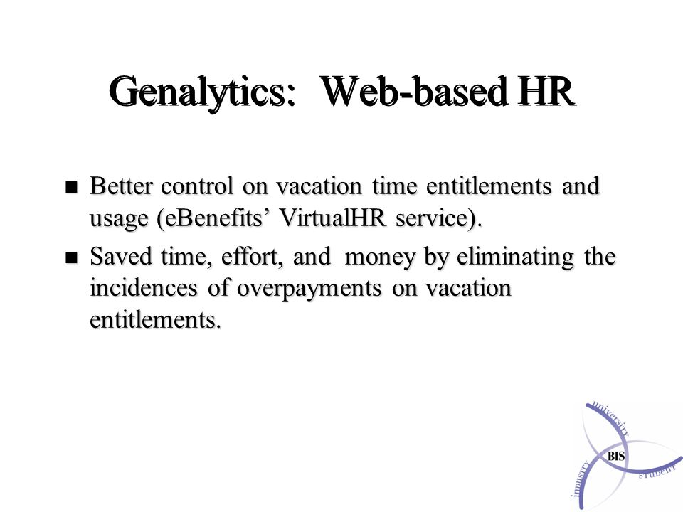 n Better control on vacation time entitlements and usage (eBenefits' VirtualHR service).