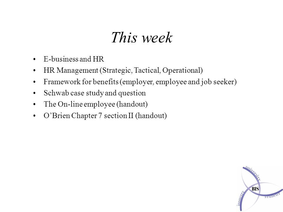 This week E-business and HR HR Management (Strategic, Tactical, Operational) Framework for benefits (employer, employee and job seeker) Schwab case study and question The On-line employee (handout) O'Brien Chapter 7 section II (handout)