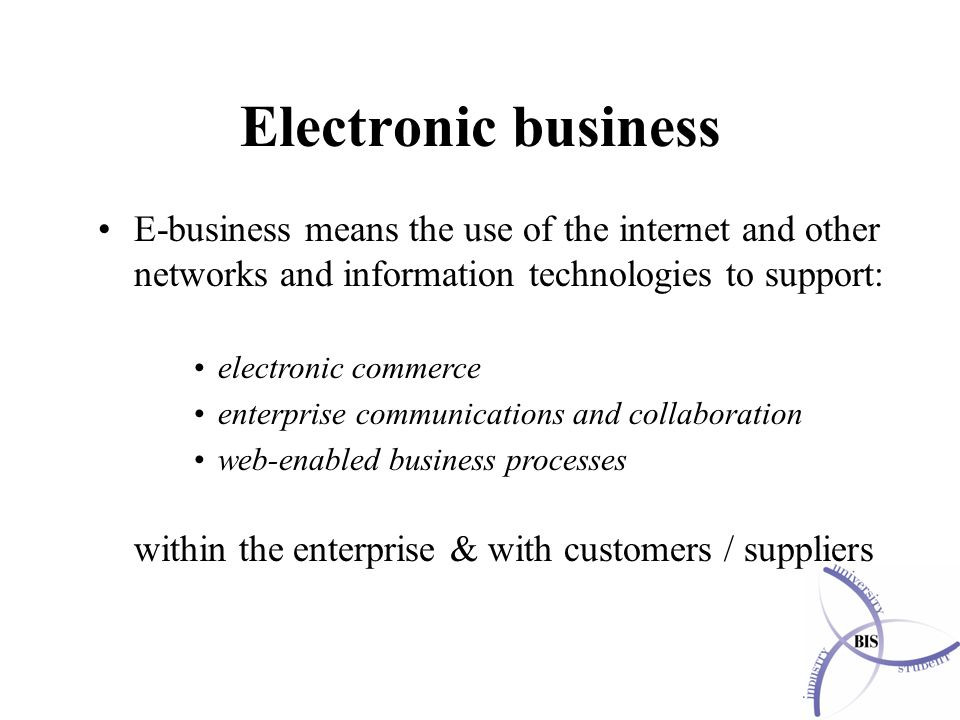 Electronic business E-business means the use of the internet and other networks and information technologies to support: electronic commerce enterprise communications and collaboration web-enabled business processes within the enterprise & with customers / suppliers
