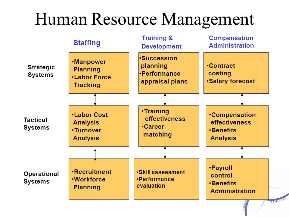 Human Resource Management Manpower Planning Labor Force Tracking Labor Cost Analysis Turnover Analysis Recruitment Workforce Planning Skill assessment Performance evaluation Payroll control Benefits Administration Compensation effectiveness Benefits Analysis Contract costing Salary forecast Succession planning Performance appraisal plans Training effectiveness Career matching Staffing Training & Development Compensation Administration Strategic Systems Tactical Systems Operational Systems