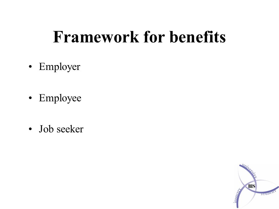 Framework for benefits Employer Employee Job seeker