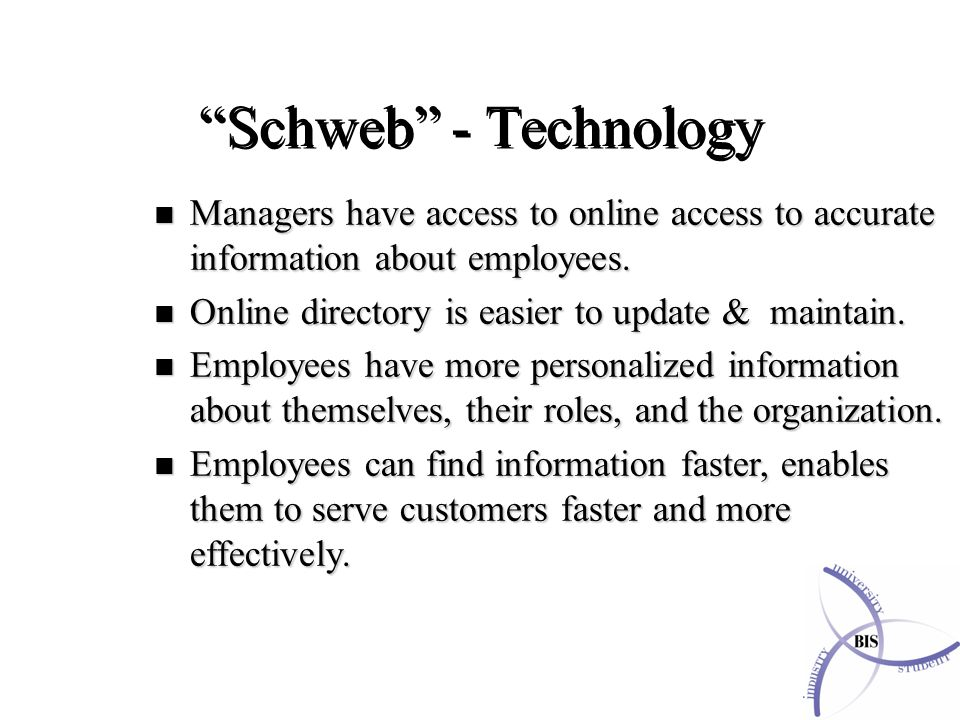Schweb - Technology n Managers have access to online access to accurate information about employees.