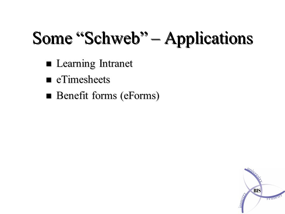 Some Schweb – Applications n Learning Intranet n eTimesheets n Benefit forms (eForms)