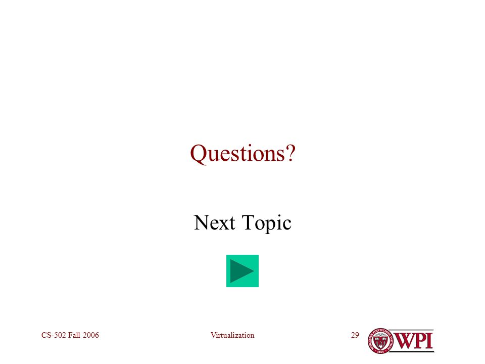 VirtualizationCS-502 Fall Questions Next Topic