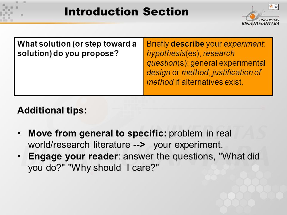 Introduction Section What solution (or step toward a solution) do you propose.