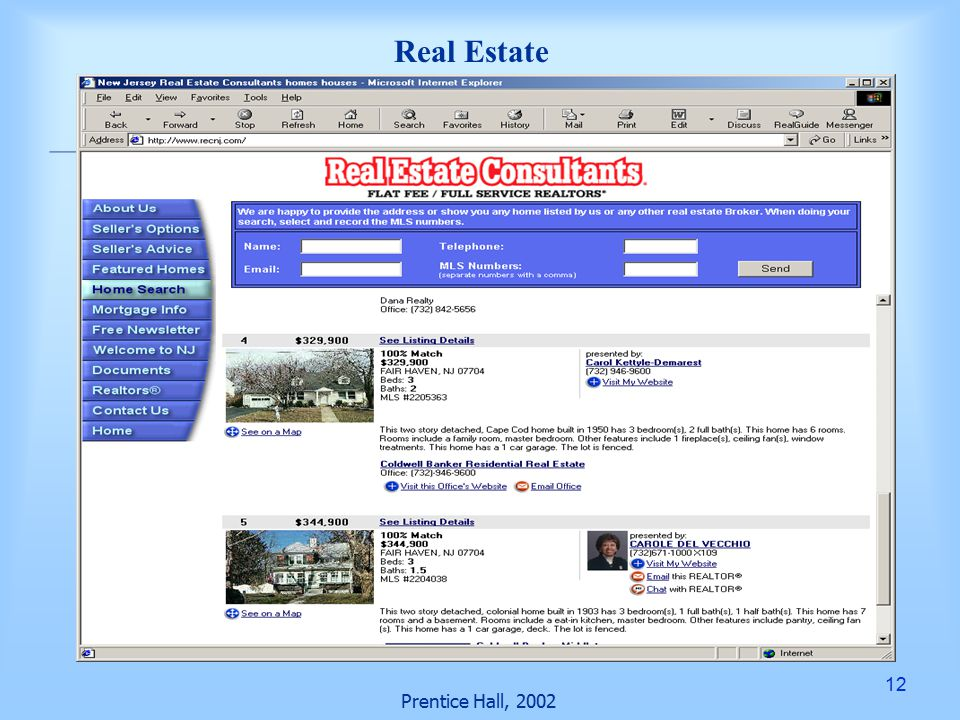 12 Prentice Hall, 2002 Real Estate