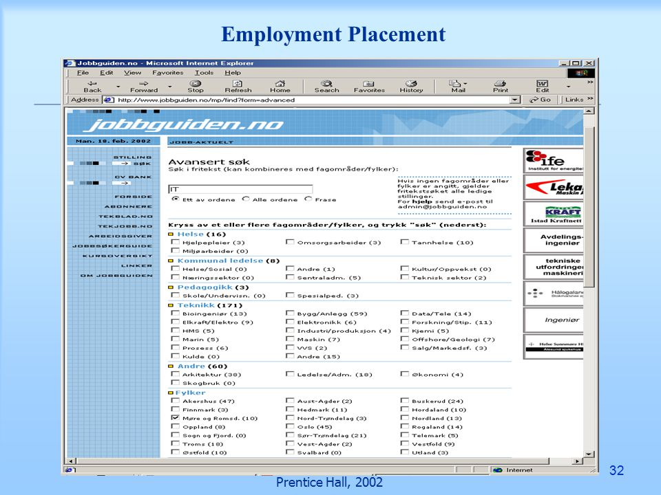 32 Prentice Hall, 2002 Employment Placement