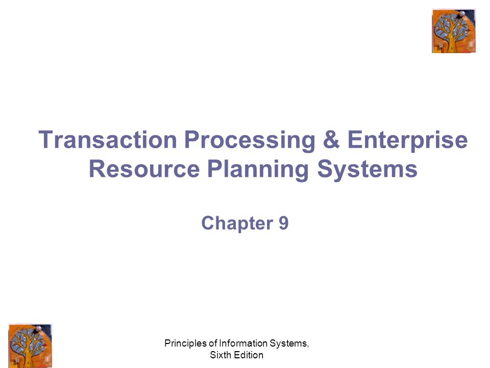 Principles of Information Systems, Sixth Edition Transaction Processing & Enterprise Resource Planning Systems Chapter 9