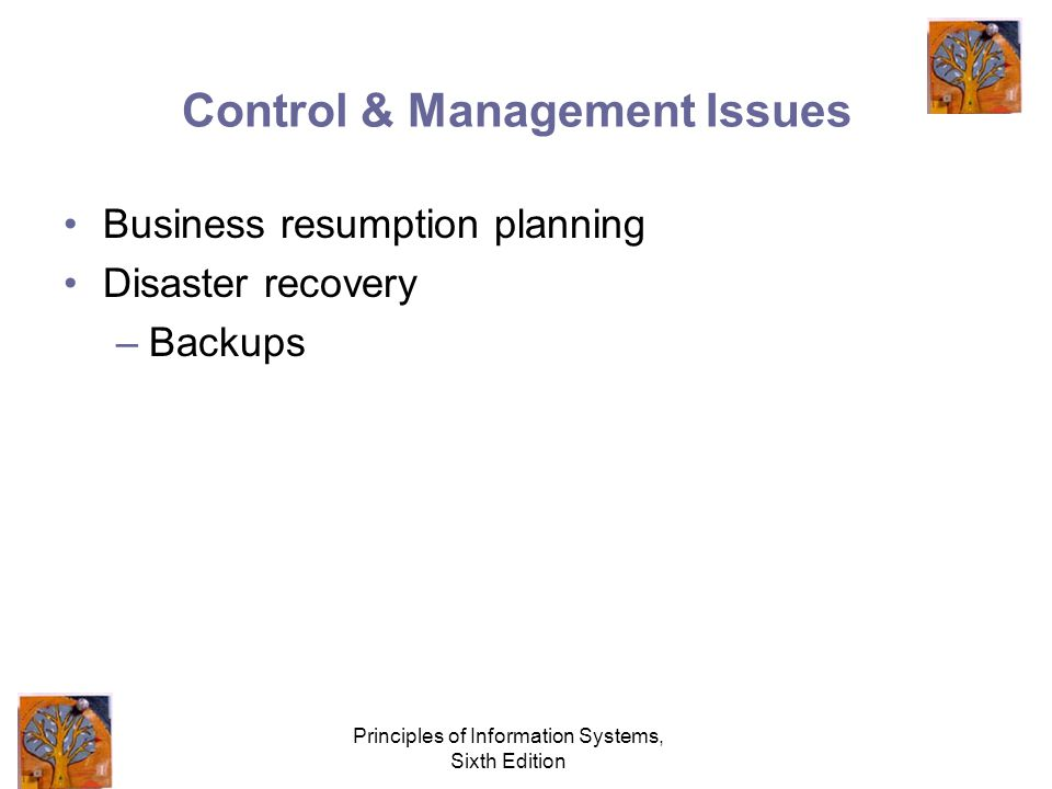 Principles of Information Systems, Sixth Edition Control & Management Issues Business resumption planning Disaster recovery –Backups