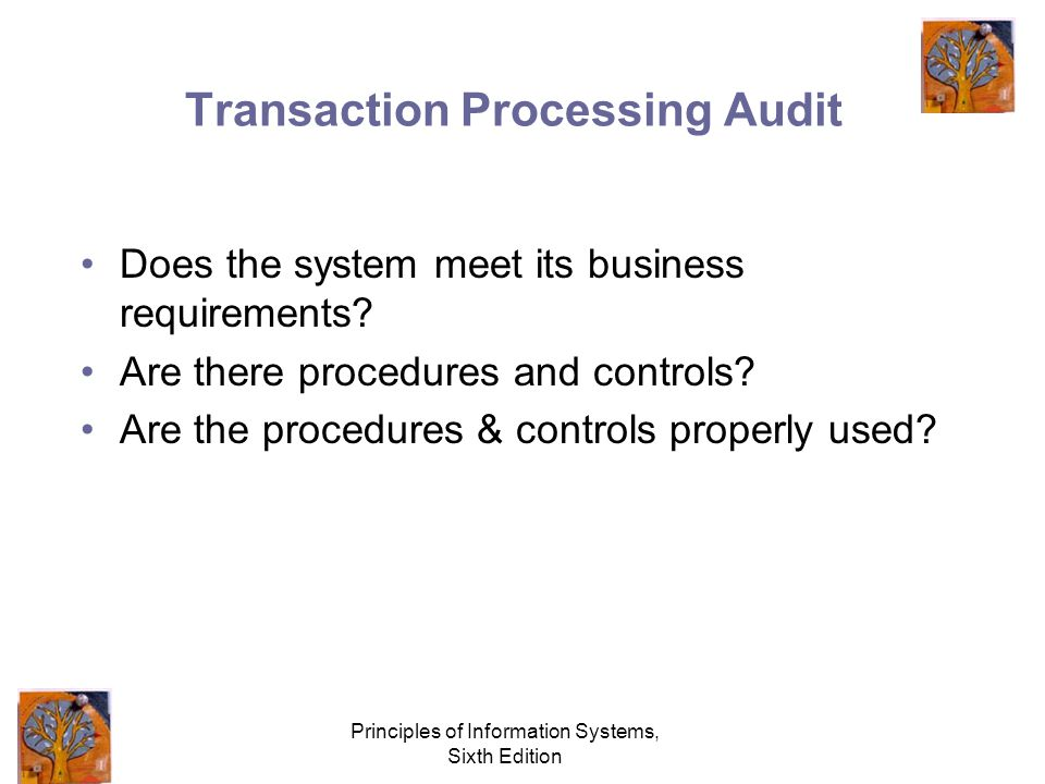 Principles of Information Systems, Sixth Edition Transaction Processing Audit Does the system meet its business requirements.